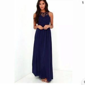 """Lulu's """"So Far Gown"""" Navy Lace Long Dress"""